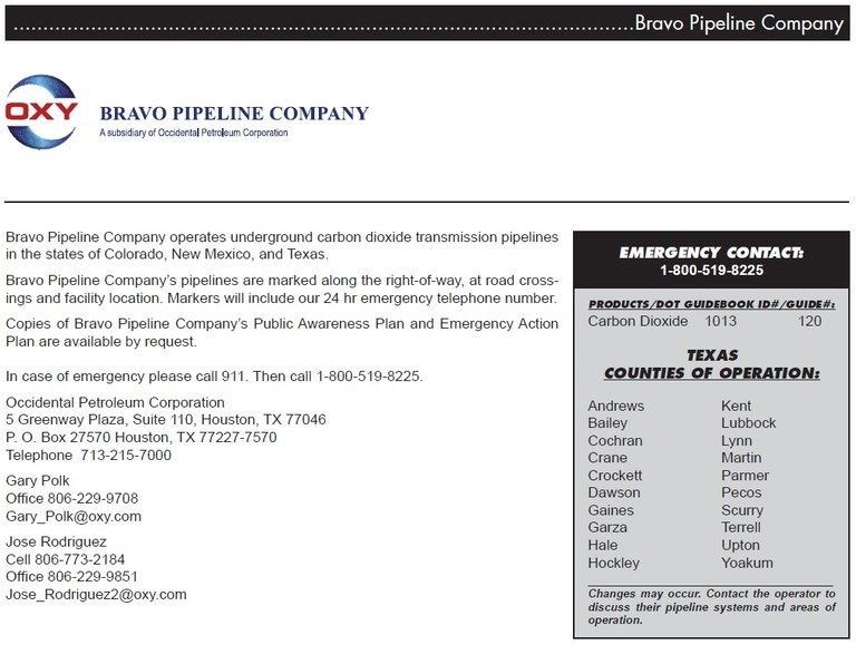 Bravo Pipeline info